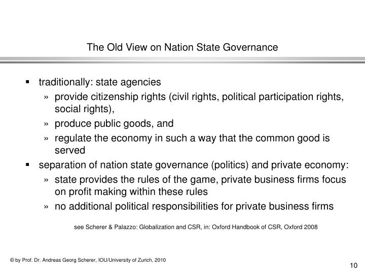 The Old View on Nation State Governance