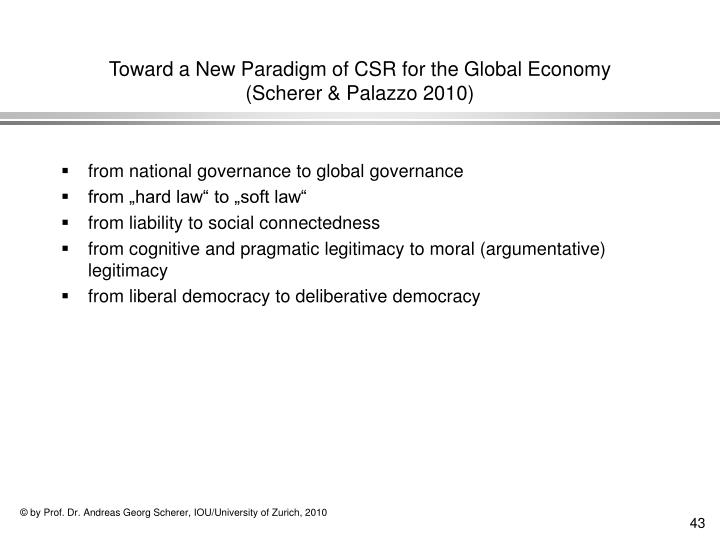 Toward a New Paradigm of CSR for the Global Economy