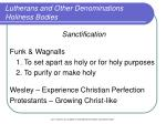lutherans and other denominations holiness bodies