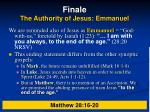 finale the authority of jesus emmanuel