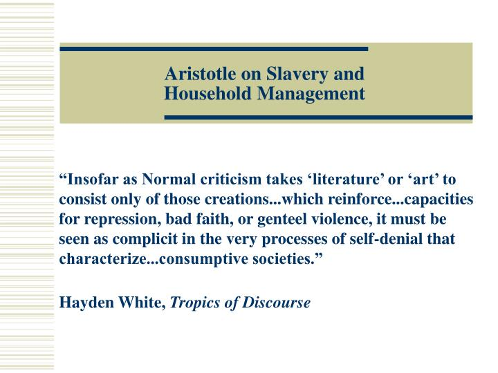 aristotle on slavery and household management n.