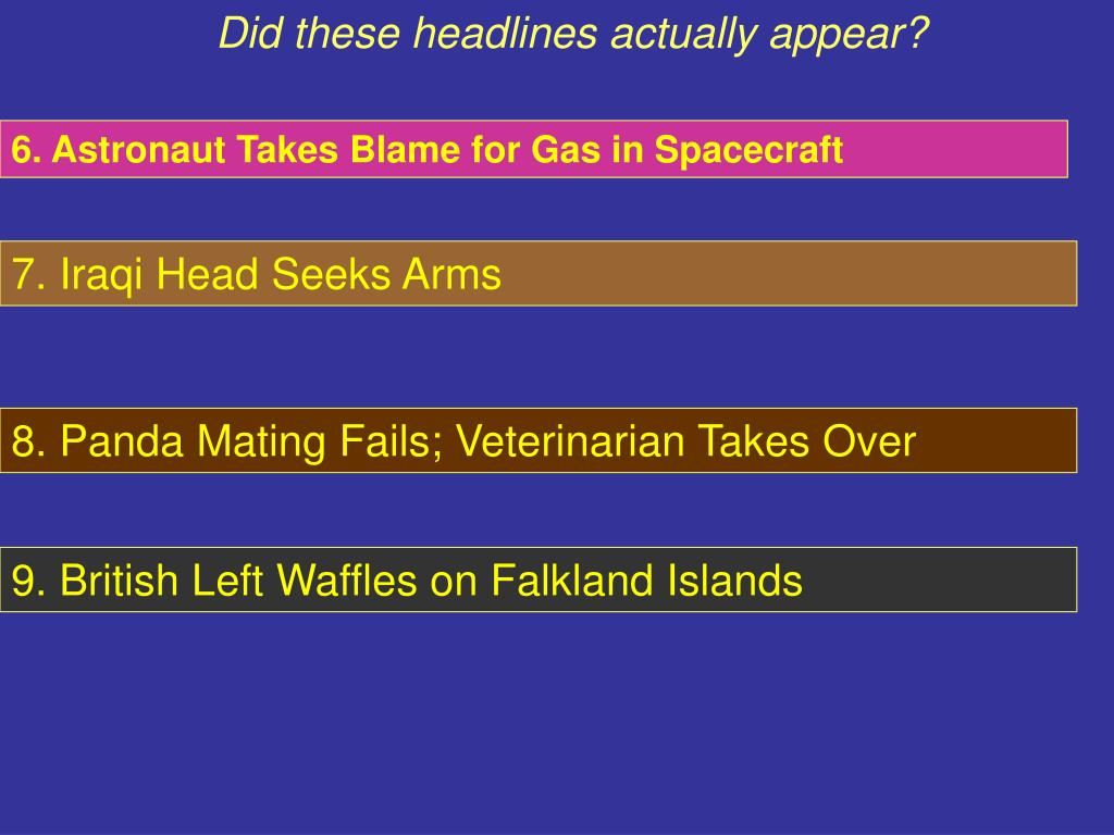 Did these headlines actually appear?