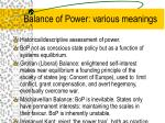 balance of power various meanings