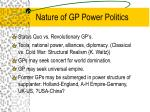 nature of gp power politics
