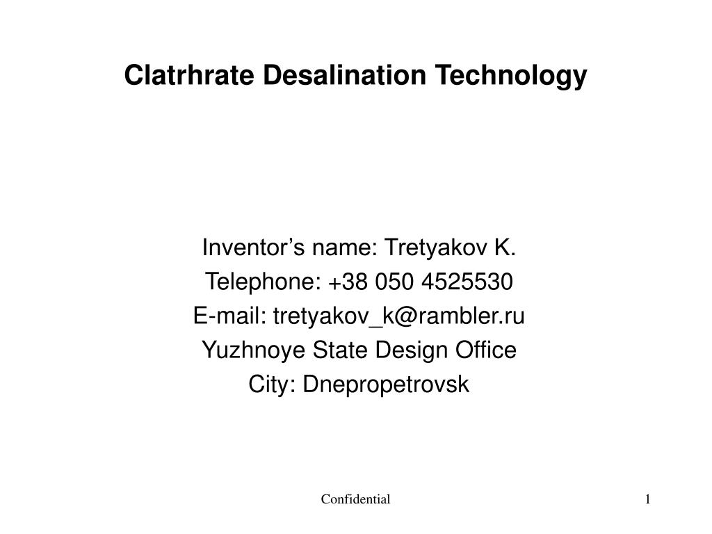 clatrhrate desalination technology l.