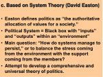 c based on system theory david easton
