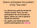 downs anticipates the problem of the free rider