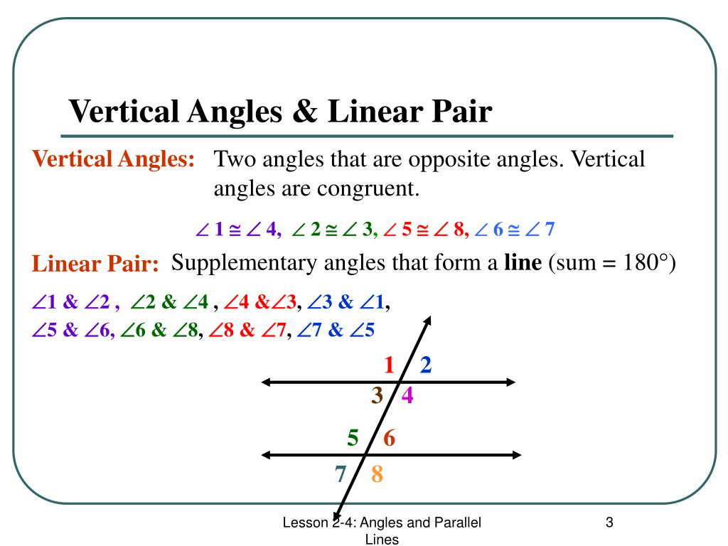 Vertical Angles & Linear Pair