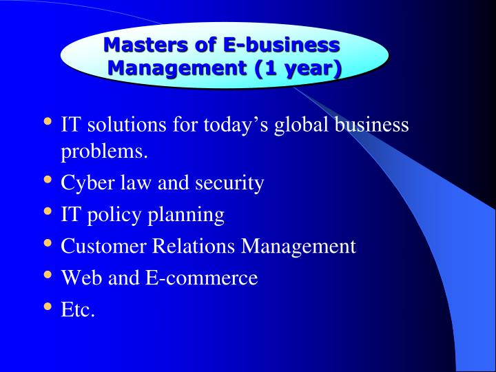 Masters of E-business