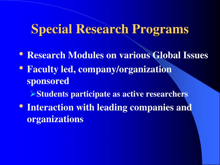 Special Research Programs