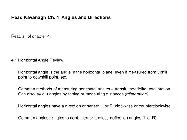 Read kavanagh ch 4 angles and directions