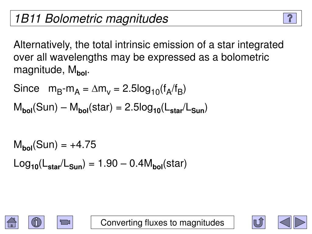 1B11 Bolometric magnitudes