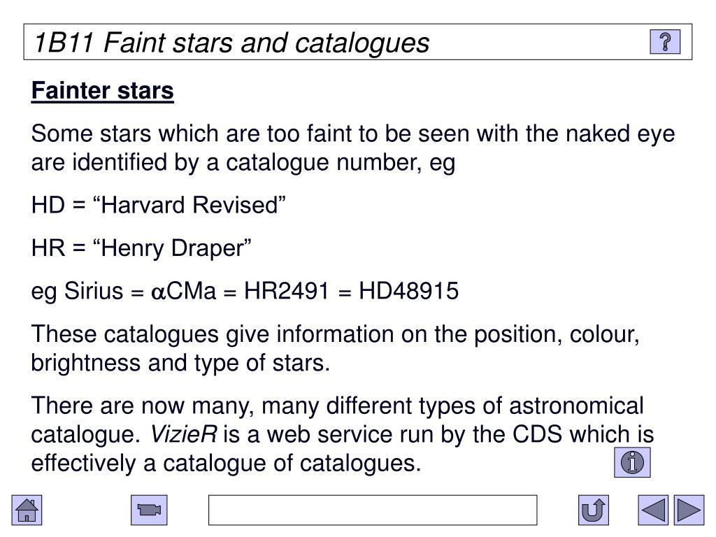 1B11 Faint stars and catalogues