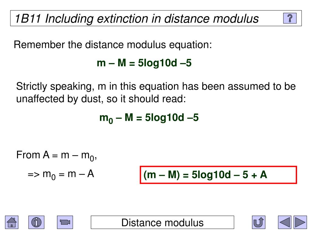 1B11 Including extinction in distance modulus