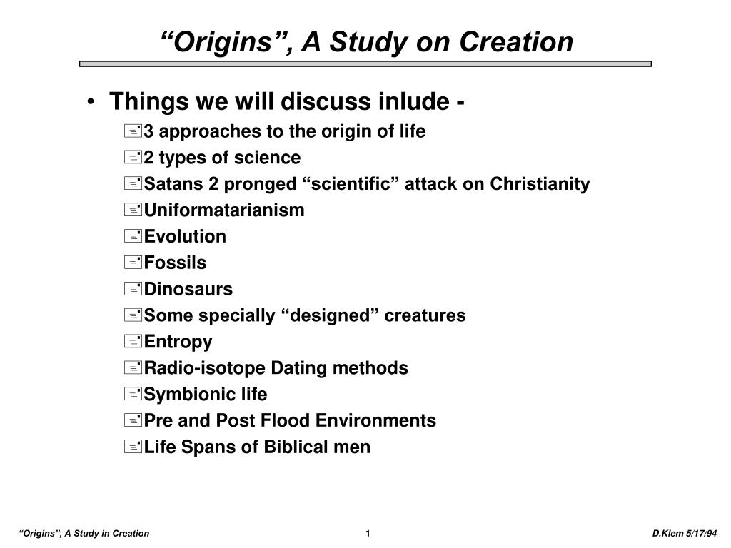 origins a study on creation l.