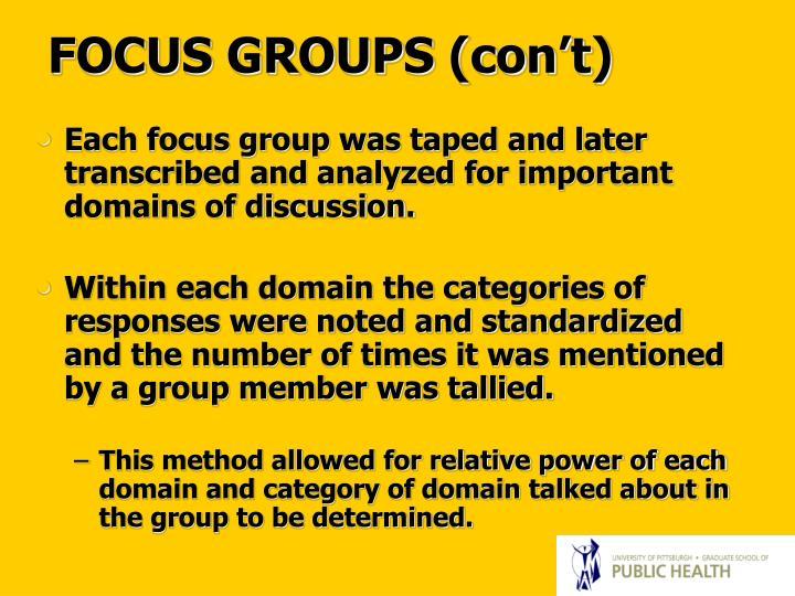 FOCUS GROUPS (con't)