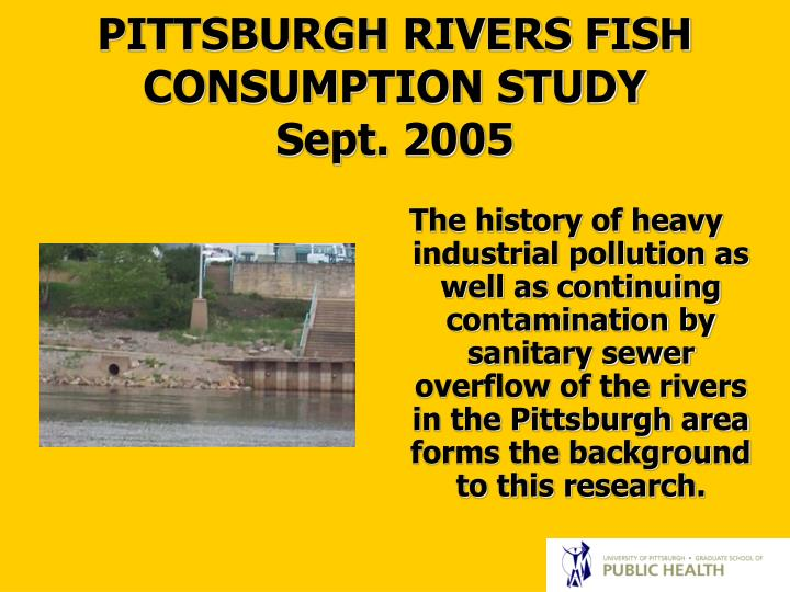 The history of heavy industrial pollution as well as continuing contamination by sanitary sewer overflow of the rivers in the Pittsburgh area forms the background to this research.