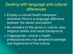 dealing with language and cultural differences