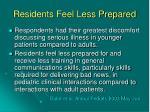 residents feel less prepared