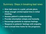 summary steps in breaking bad news
