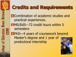 credits and requirements