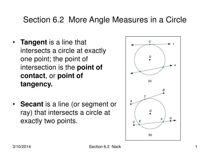 section 6 2 more angle measures in a circle n.