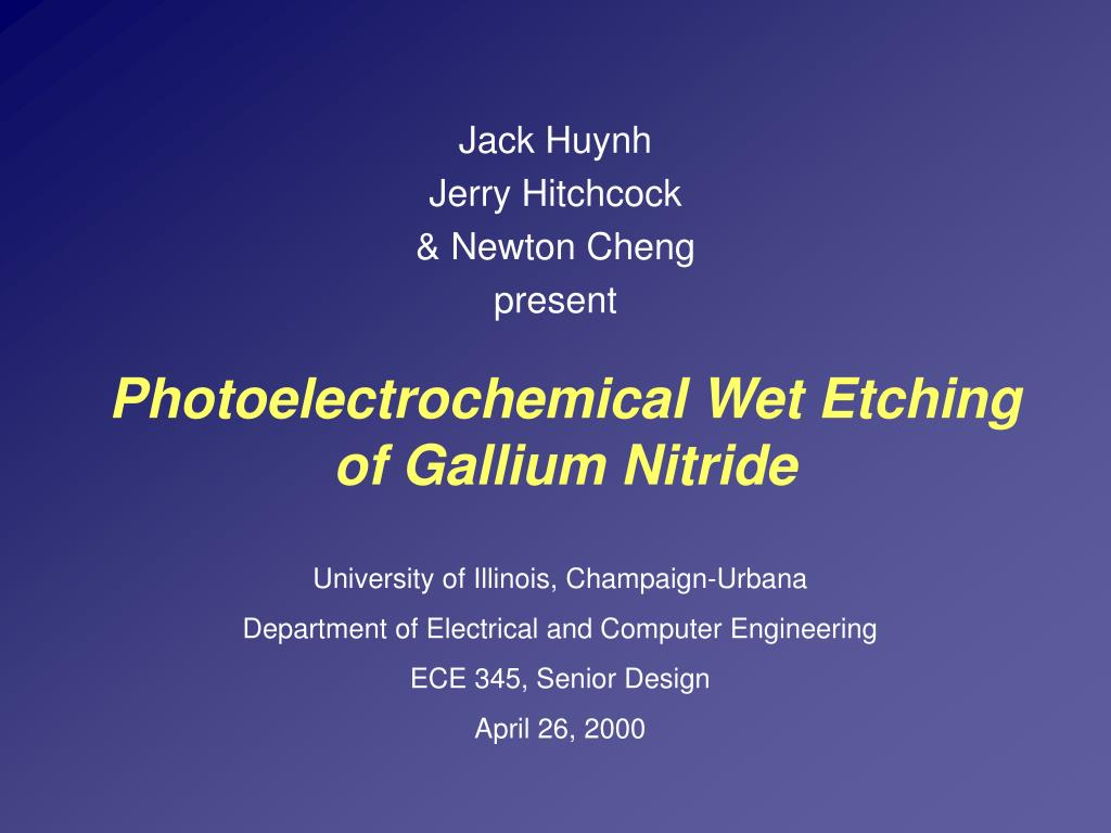 photoelectrochemical wet etching of gallium nitride l.