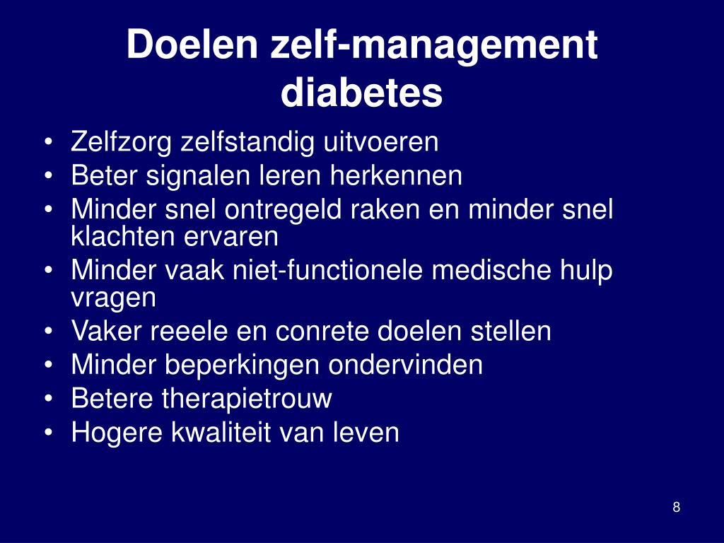 Doelen zelf-management diabetes