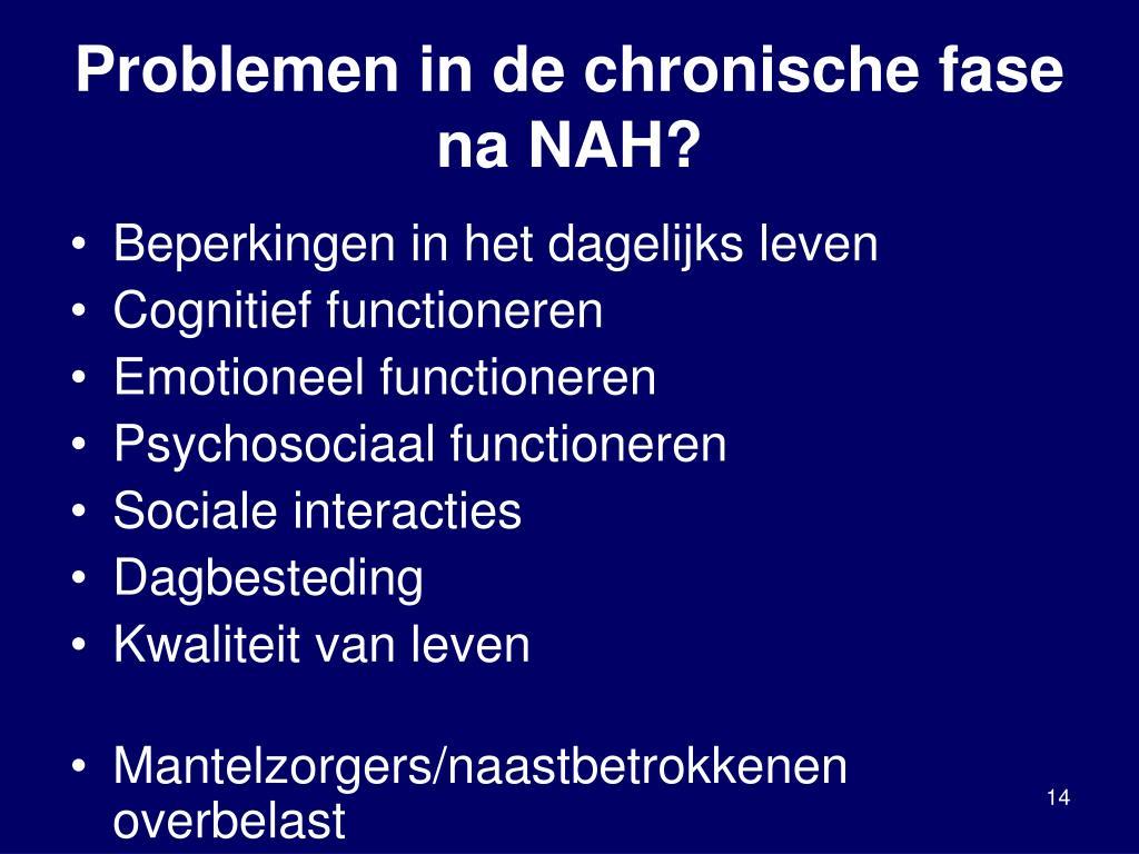 Problemen in de chronische fase na NAH?
