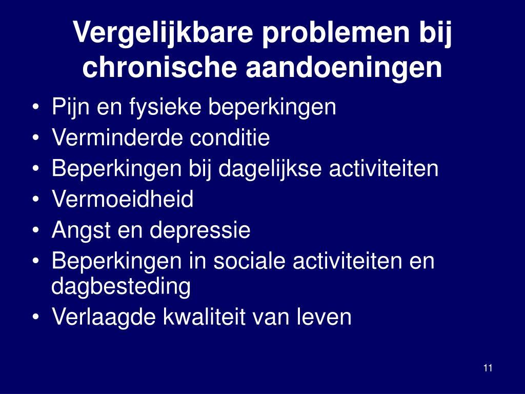 Vergelijkbare problemen bij chronische aandoeningen