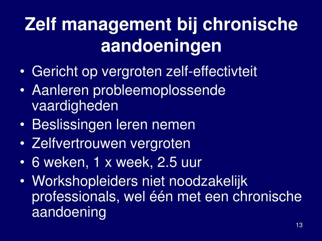Zelf management bij chronische aandoeningen