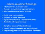 issues raised at hearings