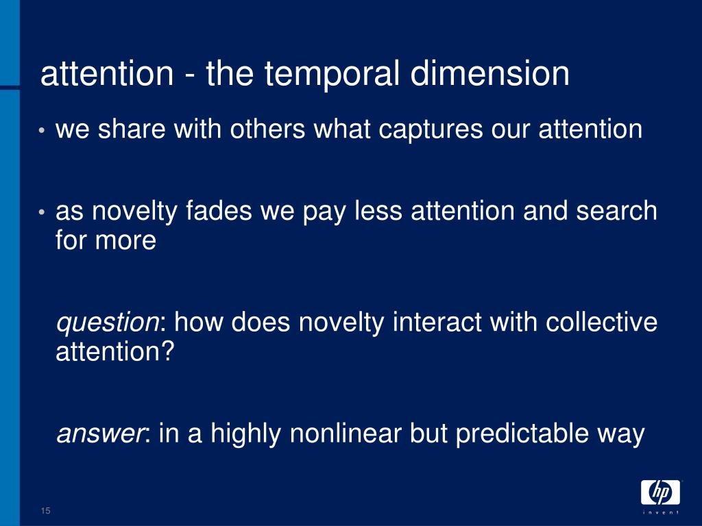 attention - the temporal dimension