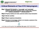 critical elements of your kyc sub program