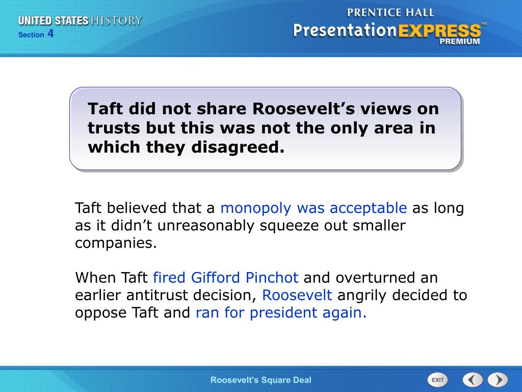 Taft did not share Roosevelt's views on trusts but this was not the only area in which they disagreed.