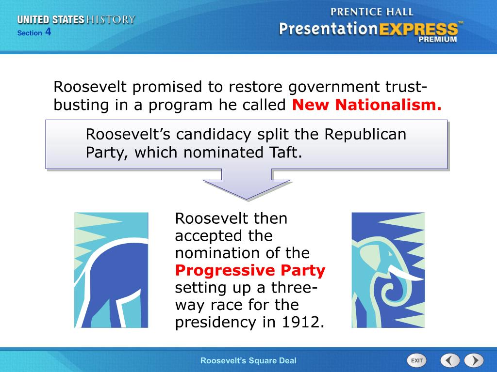 Roosevelt promised to restore government trust-busting in a program he called