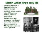 martin luther king s early life