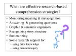 what are effective research based comprehension strategies