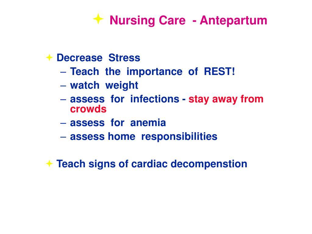 Nursing Care  - Antepartum