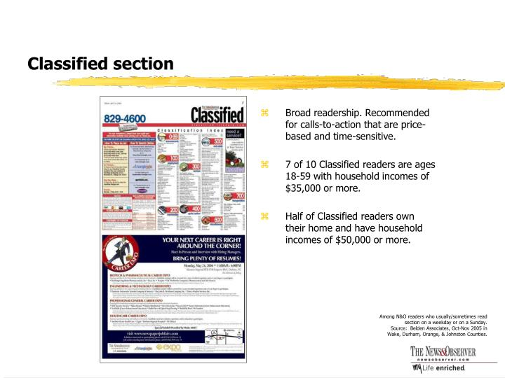 Classified section