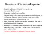 demens differensialdiagnoser