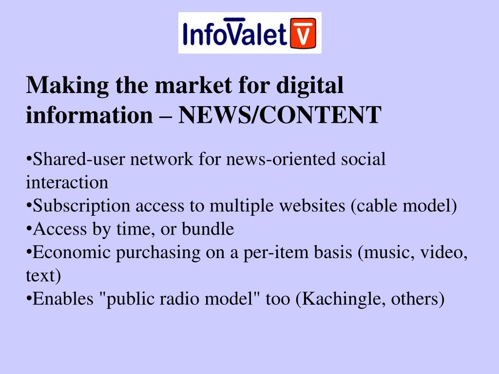 Making the market for digital information – NEWS/CONTENT