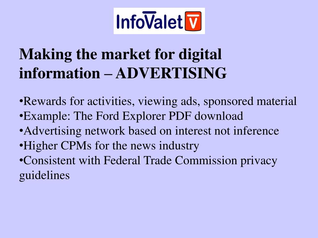 Making the market for digital information – ADVERTISING