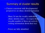 summary of cluster results