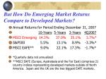 but how do emerging market returns compare to developed markets