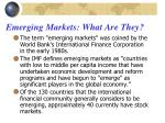 emerging markets what are they