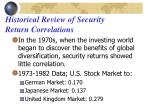historical review of security return correlations