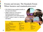 forums and streams the standards forum where business and standardisation meet