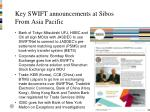 key swift announcements at sibos from asia pacific