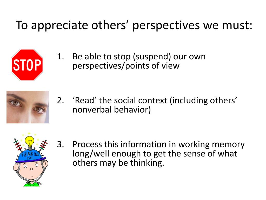 To appreciate others' perspectives we must: